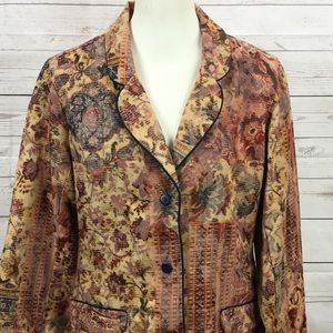 Coldwater Creek Floral Career Blazer SZ Medium